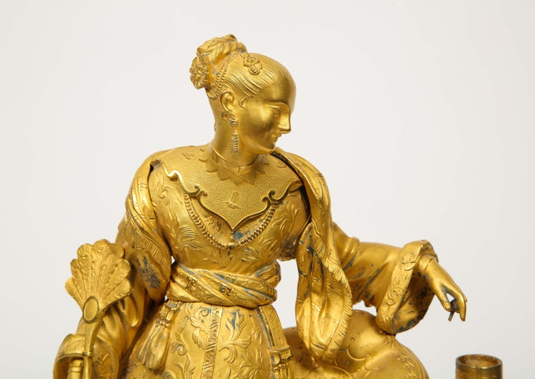 Exquisite French Charles X Ormolu Chinoiserie Figural Table Clock For Sale 2