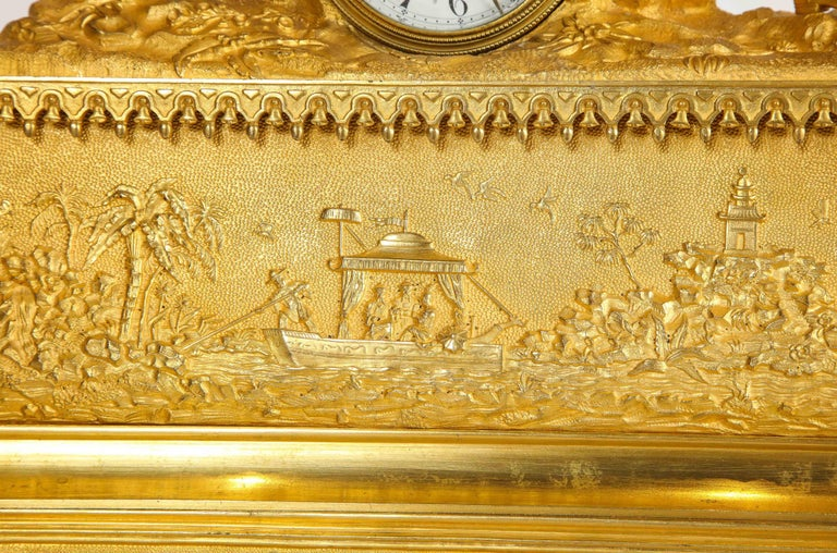 Exquisite French Charles X Ormolu Chinoiserie Figural Table Clock For Sale 3