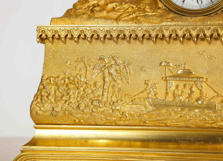 Exquisite French Charles X Ormolu Chinoiserie Figural Table Clock For Sale 4