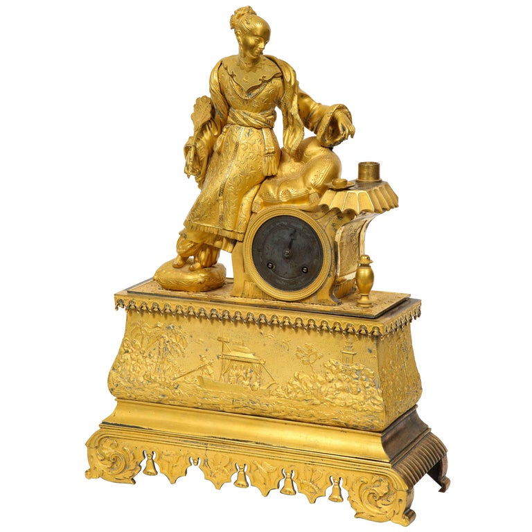 Exquisite French Charles X Ormolu Chinoiserie Figural Table Clock For Sale
