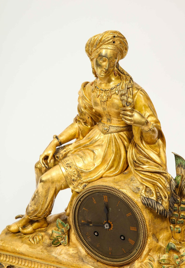 Exquisite French Charles X Ormolu Orientalist Sultana Figural Table Clock For Sale 5