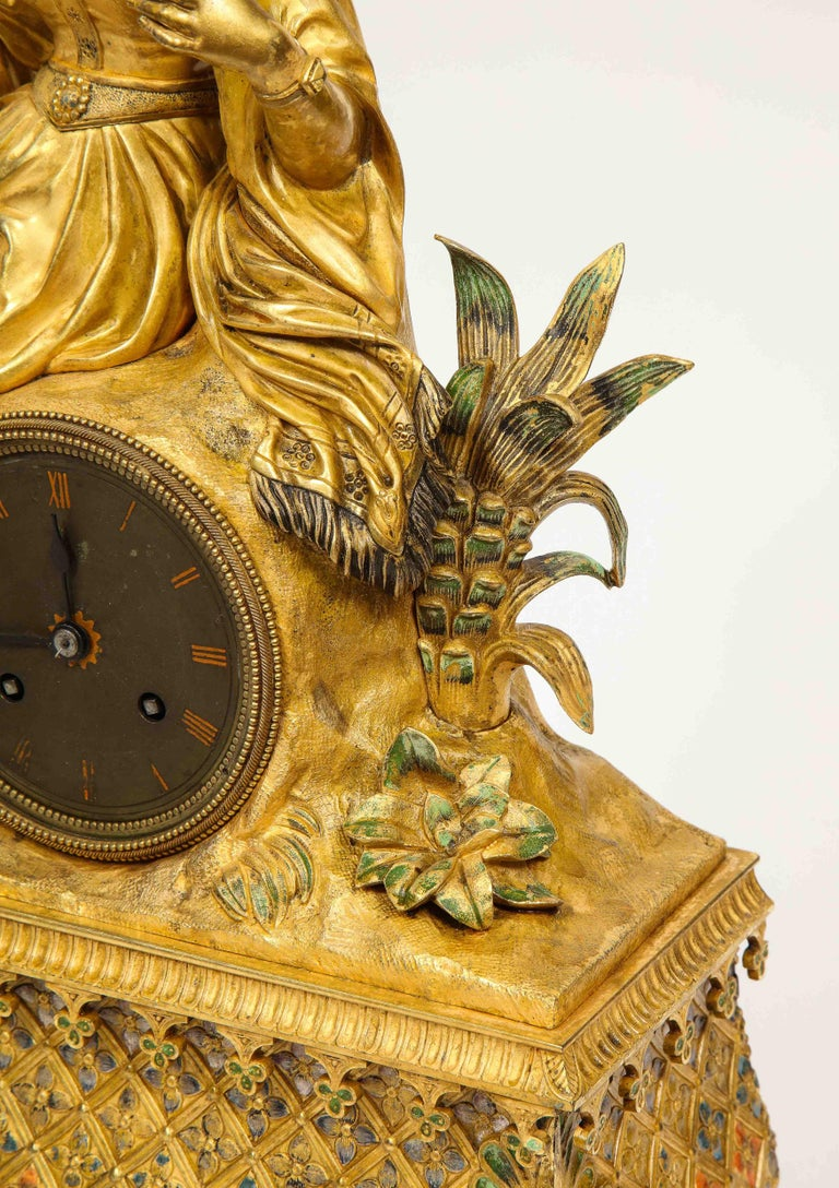 Exquisite French Charles X Ormolu Orientalist Sultana Figural Table Clock For Sale 6