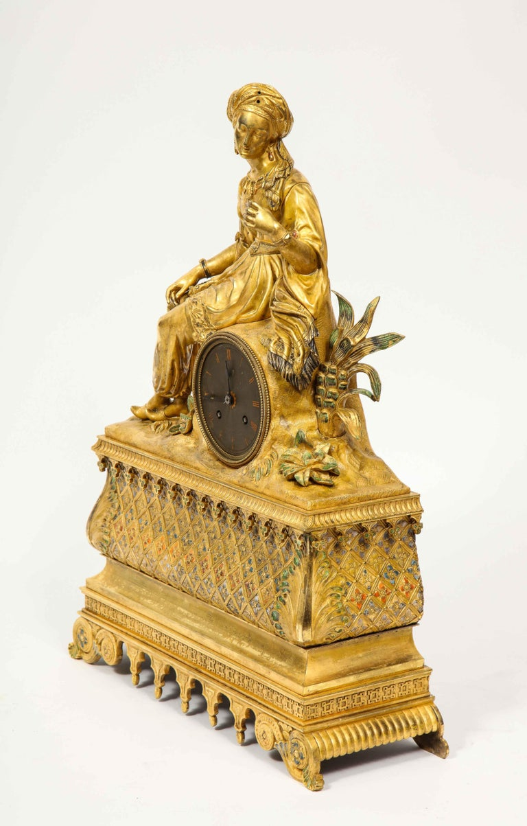 Exquisite French Charles X Ormolu Orientalist Sultana Figural Table Clock For Sale 7