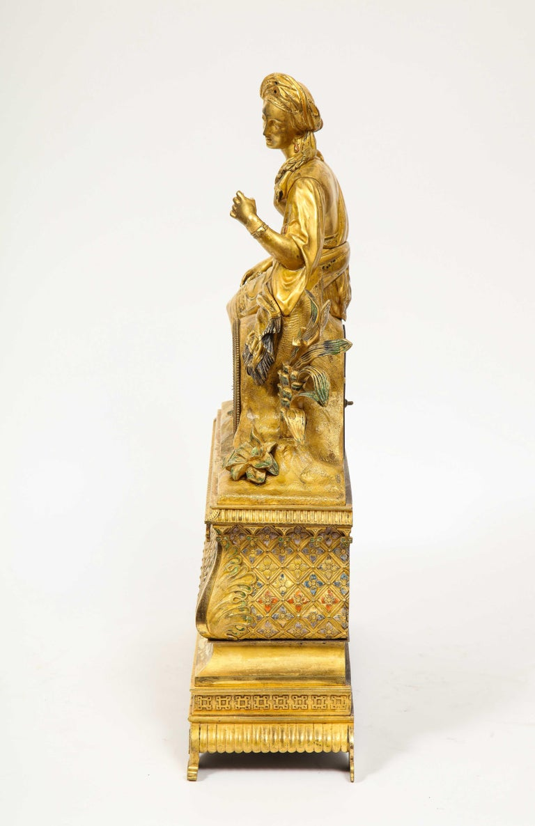 Exquisite French Charles X Ormolu Orientalist Sultana Figural Table Clock For Sale 8