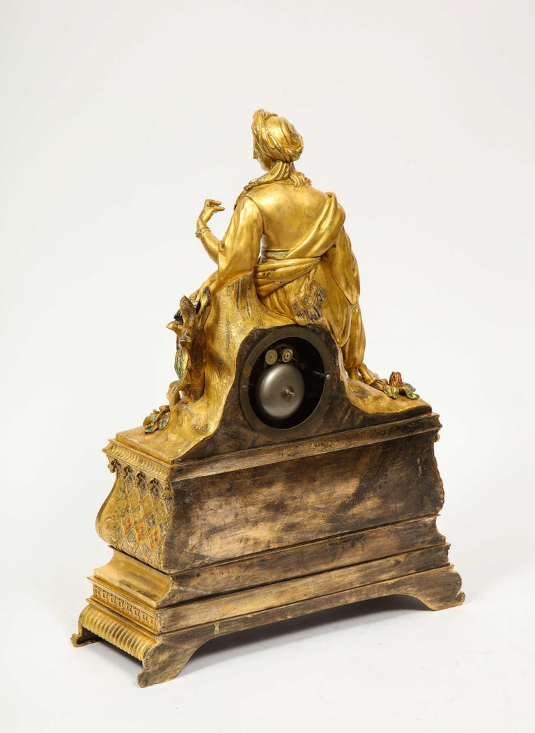 Exquisite French Charles X Ormolu Orientalist Sultana Figural Table Clock For Sale 9