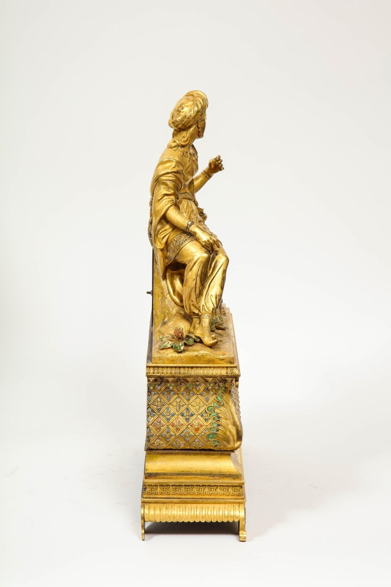 Exquisite French Charles X Ormolu Orientalist Sultana Figural Table Clock For Sale 12