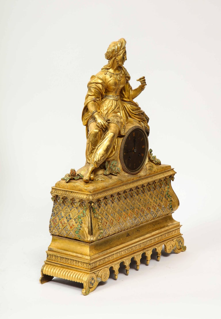 Exquisite French Charles X Ormolu Orientalist Sultana Figural Table Clock For Sale 13