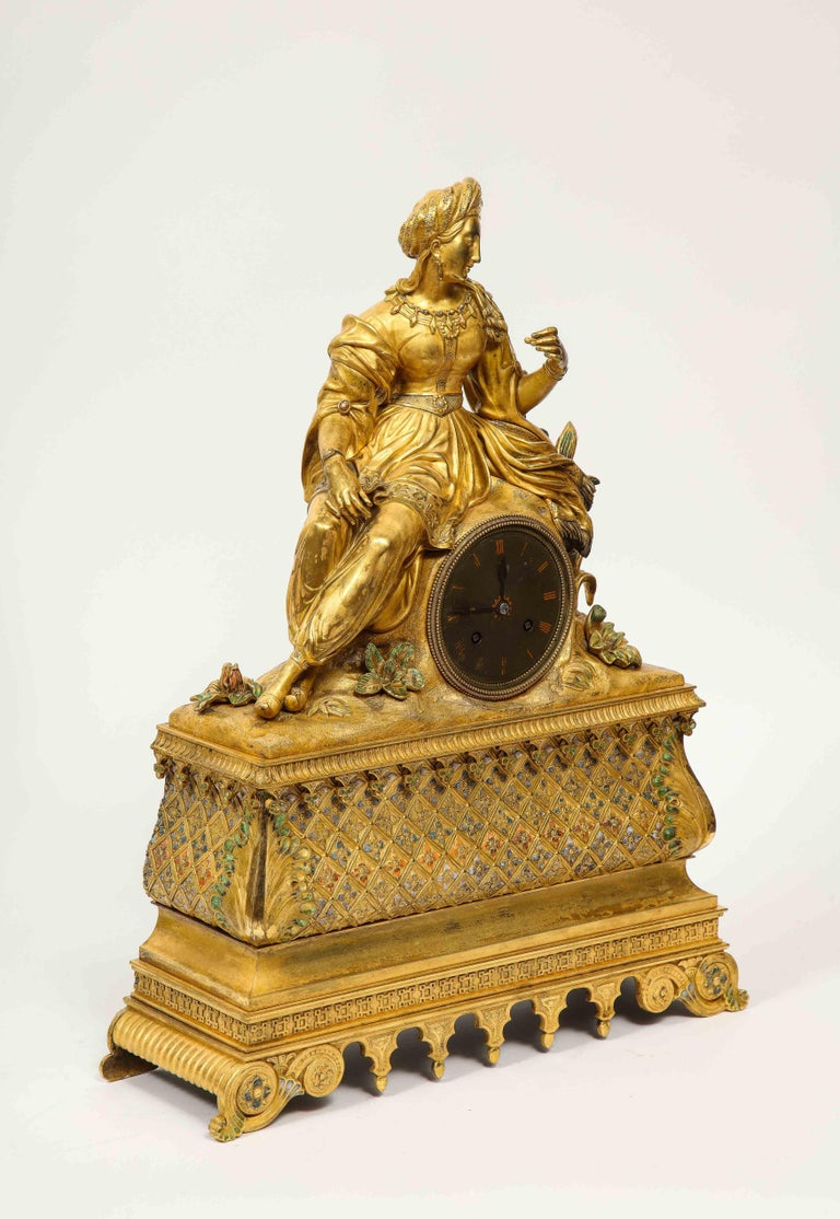 Exquisite French Charles X Ormolu Orientalist Sultana Figural Table Clock For Sale 15