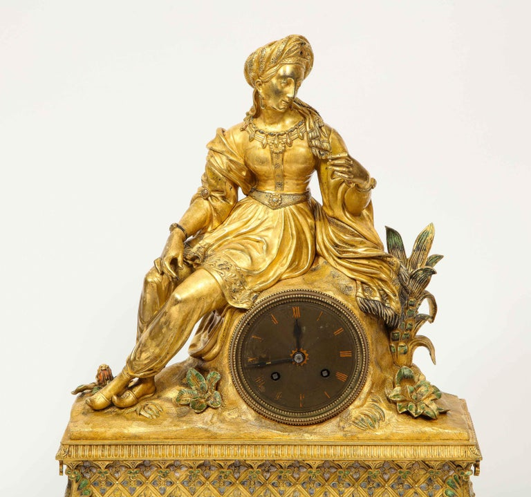Exquisite French Charles X Ormolu Orientalist Sultana Figural Table Clock In Good Condition For Sale In New York, NY