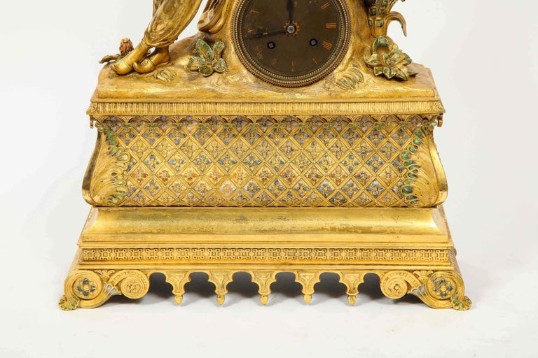 19th Century Exquisite French Charles X Ormolu Orientalist Sultana Figural Table Clock For Sale