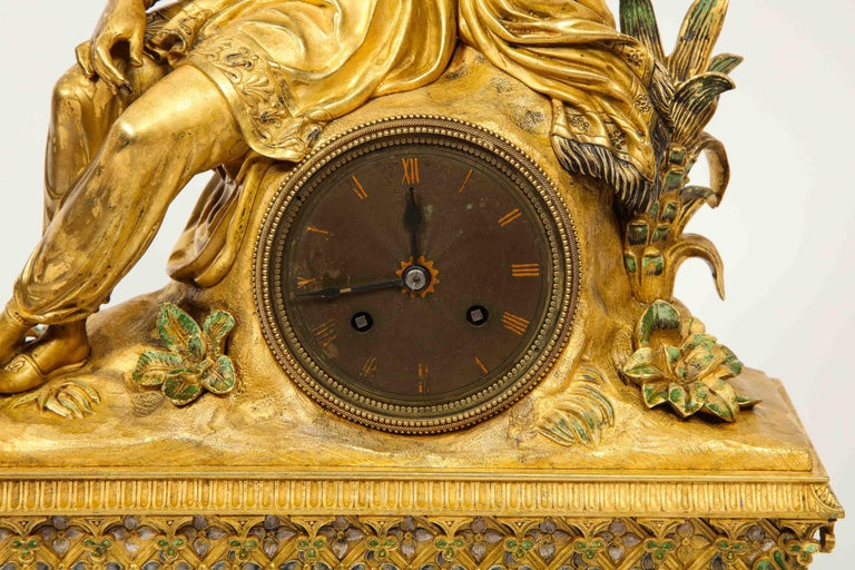 Bronze Exquisite French Charles X Ormolu Orientalist Sultana Figural Table Clock For Sale