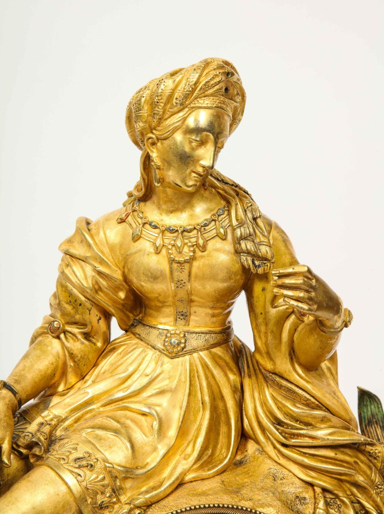 Exquisite French Charles X Ormolu Orientalist Sultana Figural Table Clock For Sale 1