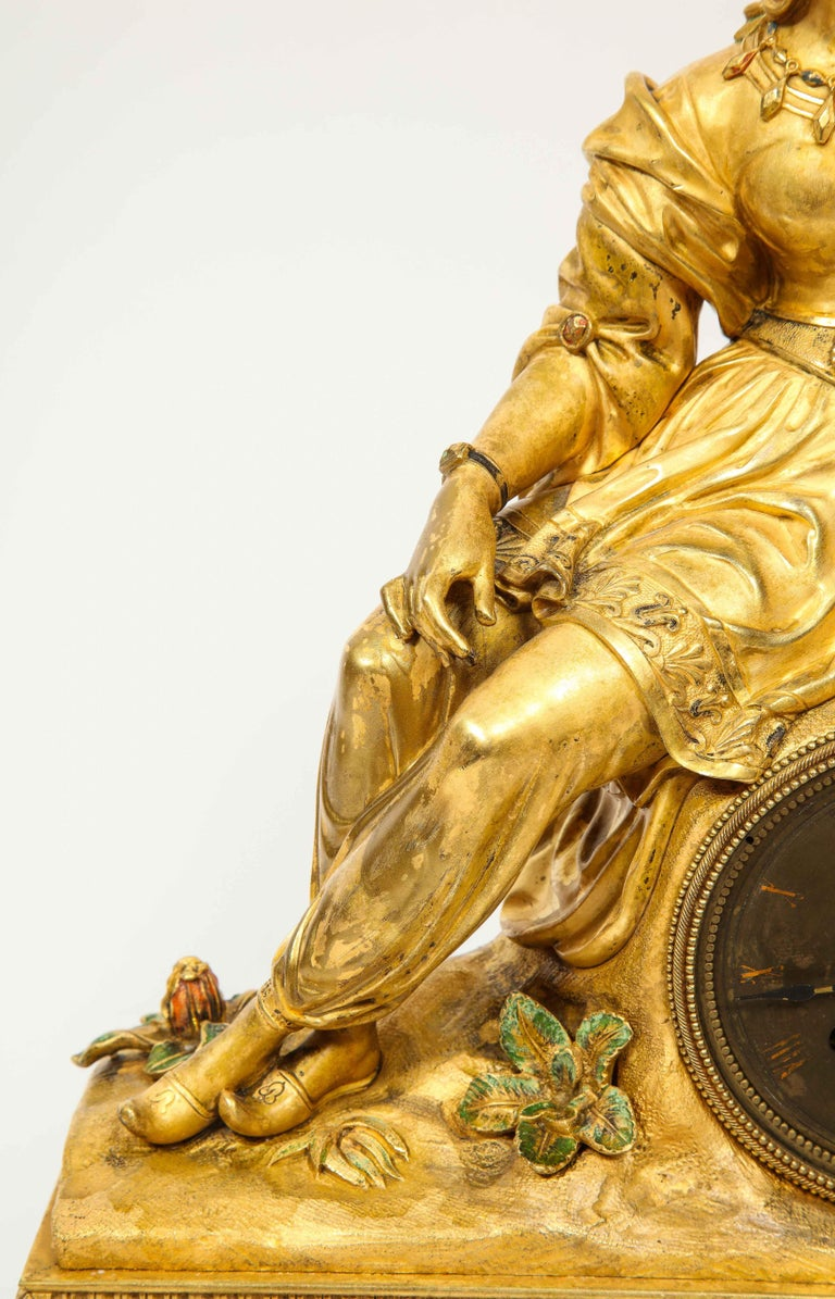 Exquisite French Charles X Ormolu Orientalist Sultana Figural Table Clock For Sale 2