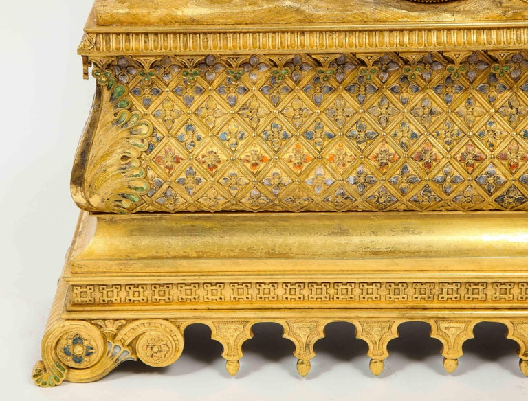 Exquisite French Charles X Ormolu Orientalist Sultana Figural Table Clock For Sale 3