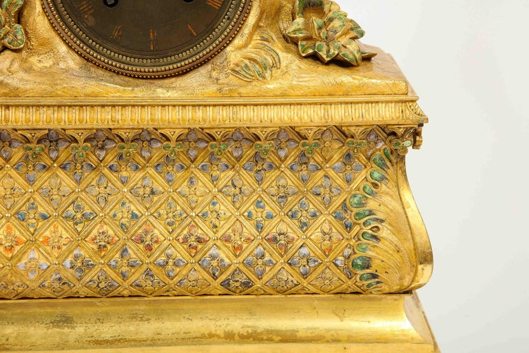 Exquisite French Charles X Ormolu Orientalist Sultana Figural Table Clock For Sale 4