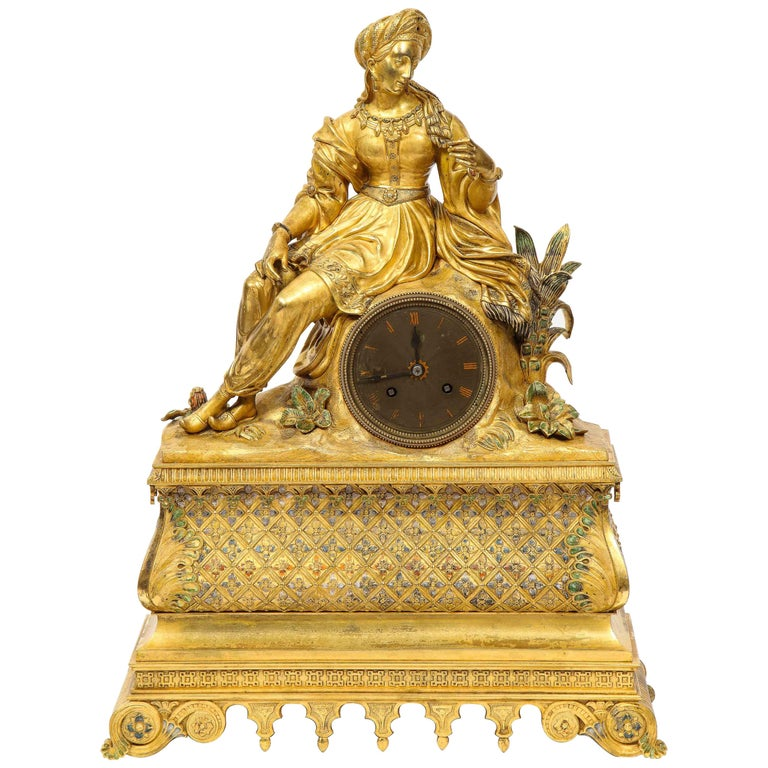 Exquisite French Charles X Ormolu Orientalist Sultana Figural Table Clock For Sale
