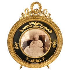 Exquisite French Empire Antique Patinated Bronze Round Picture Frame