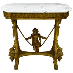 Exquisite French Giltwood Swinging Putto Marble Top Table/ Ferner