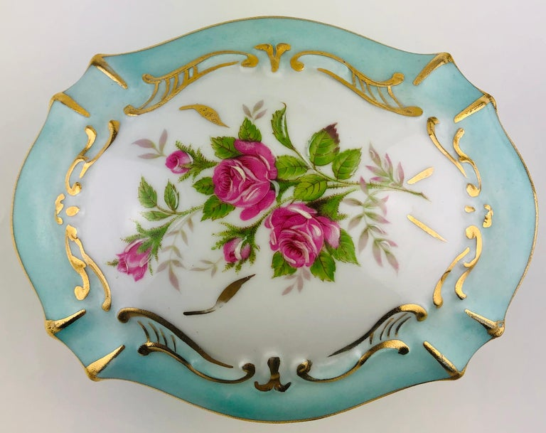 20th Century Exquisite French Limoges Hand Painted Gold Trim Trinket or Jewelry Box For Sale