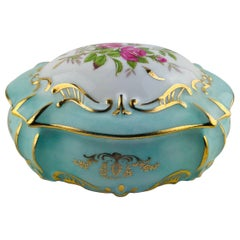 Exquisite French Limoges Hand Painted Gold Trim Trinket or Jewelry Box