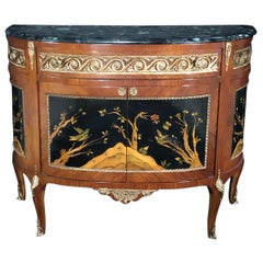 Exquisite French Louis XV Style Inlaid Demilune Buffet Cabinet Credenza