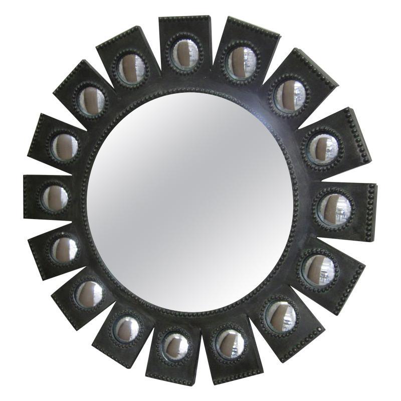 Exquisite French Mid-Century Modern 'Sunburst' Mirror in Style of Line Vautrin