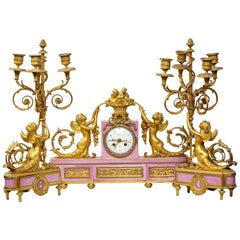 Exquisite French Ormolu and Pink Porcelain Clock Set after Francois Remond