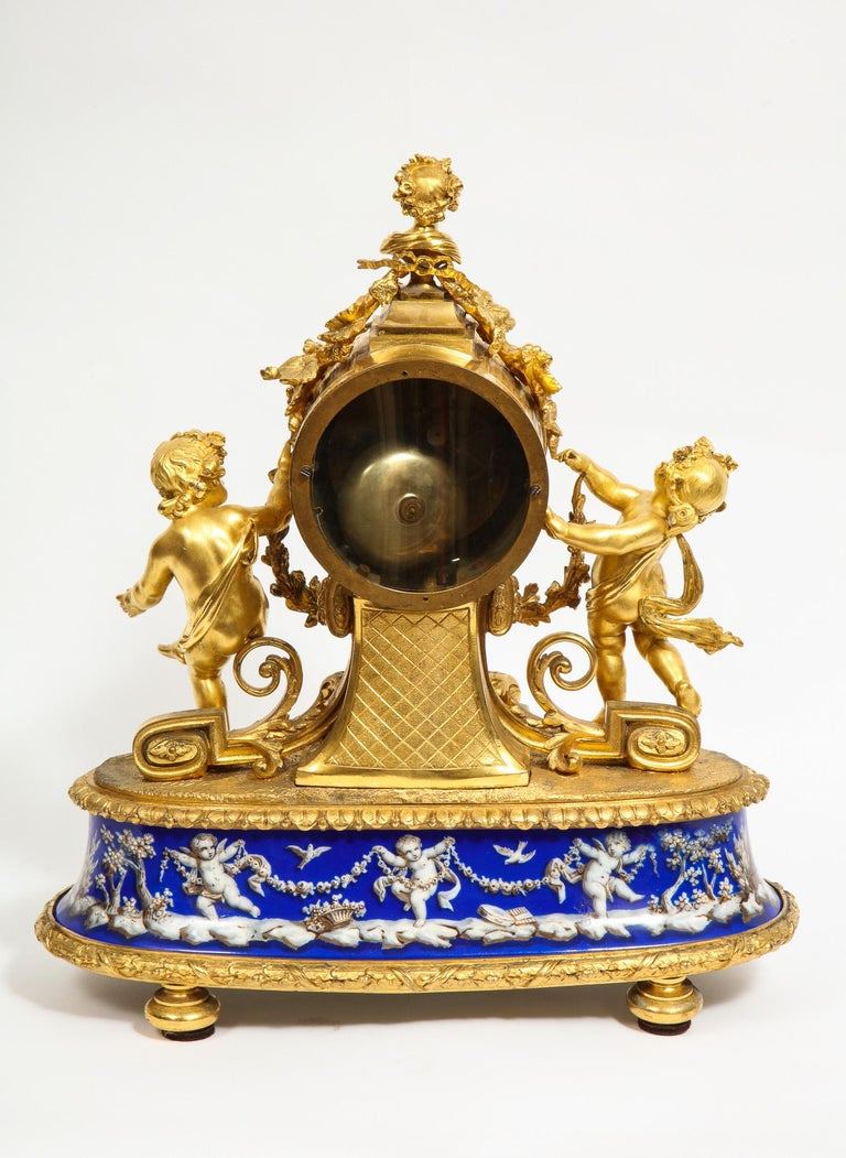 Exquisite French Ormolu Bronze and Blue Porcelain Mounted Three-Piece Clock Set For Sale 5
