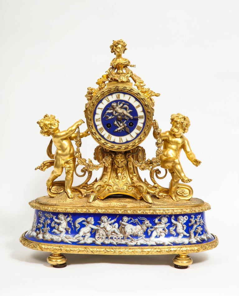 Napoleon III Exquisite French Ormolu Bronze and Blue Porcelain Mounted Three-Piece Clock Set For Sale