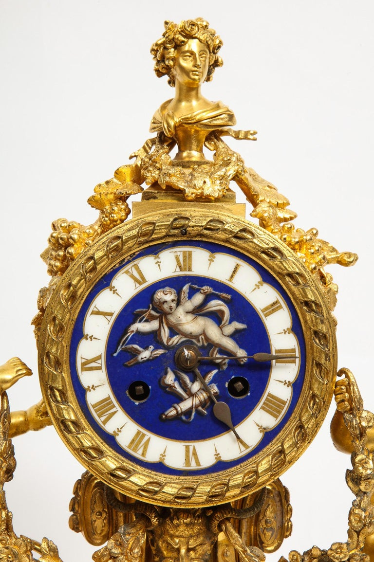 19th Century Exquisite French Ormolu Bronze and Blue Porcelain Mounted Three-Piece Clock Set For Sale