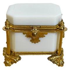 Exquisite French Ormolu Mounted White Opaline Diminutive Box, C 1865