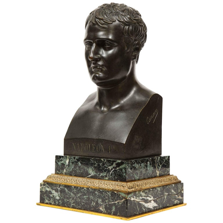 Exquisite French Patinated Bronze Bust of Emperor Napoleon I, after Canova For Sale