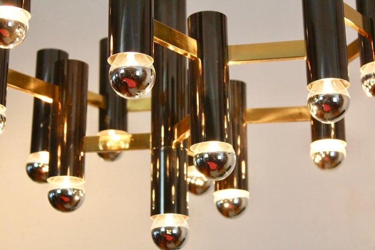 Mid-Century Modern Exquisite Gaetano Sciolari Brass and Black Pearl Chandelier, Italy, 1970s For Sale