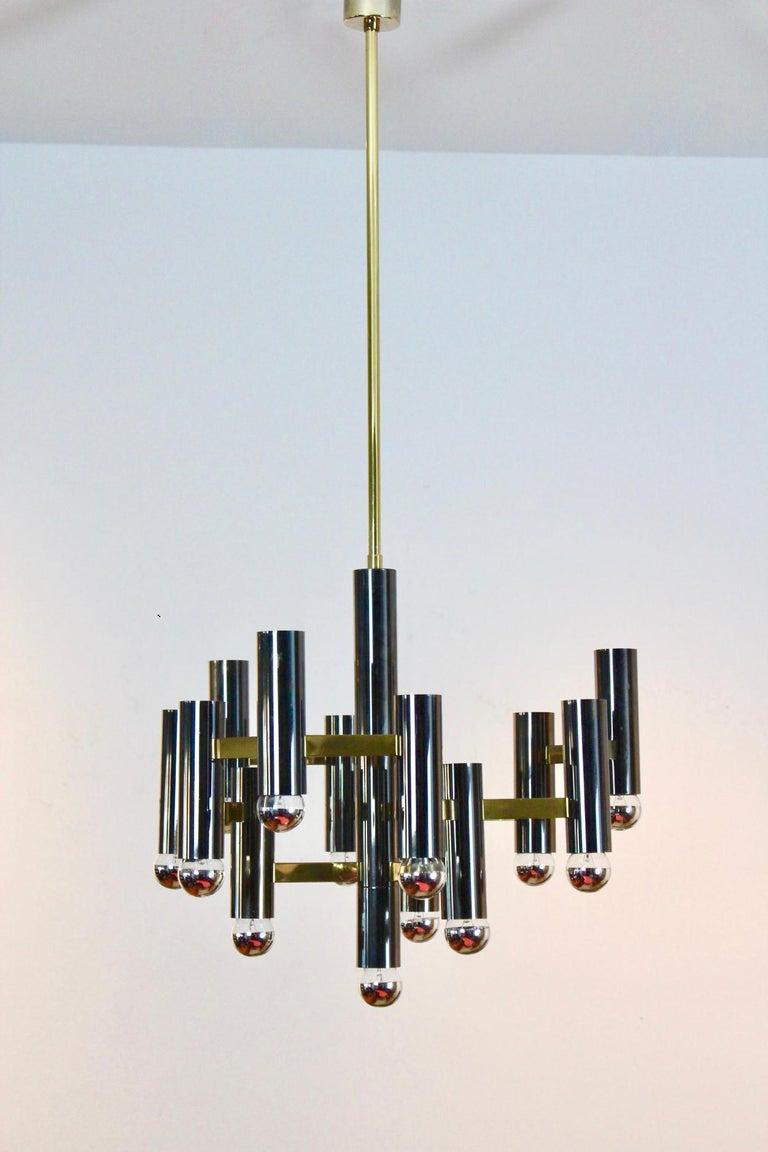 20th Century Exquisite Gaetano Sciolari Brass and Black Pearl Chandelier, Italy, 1970s For Sale