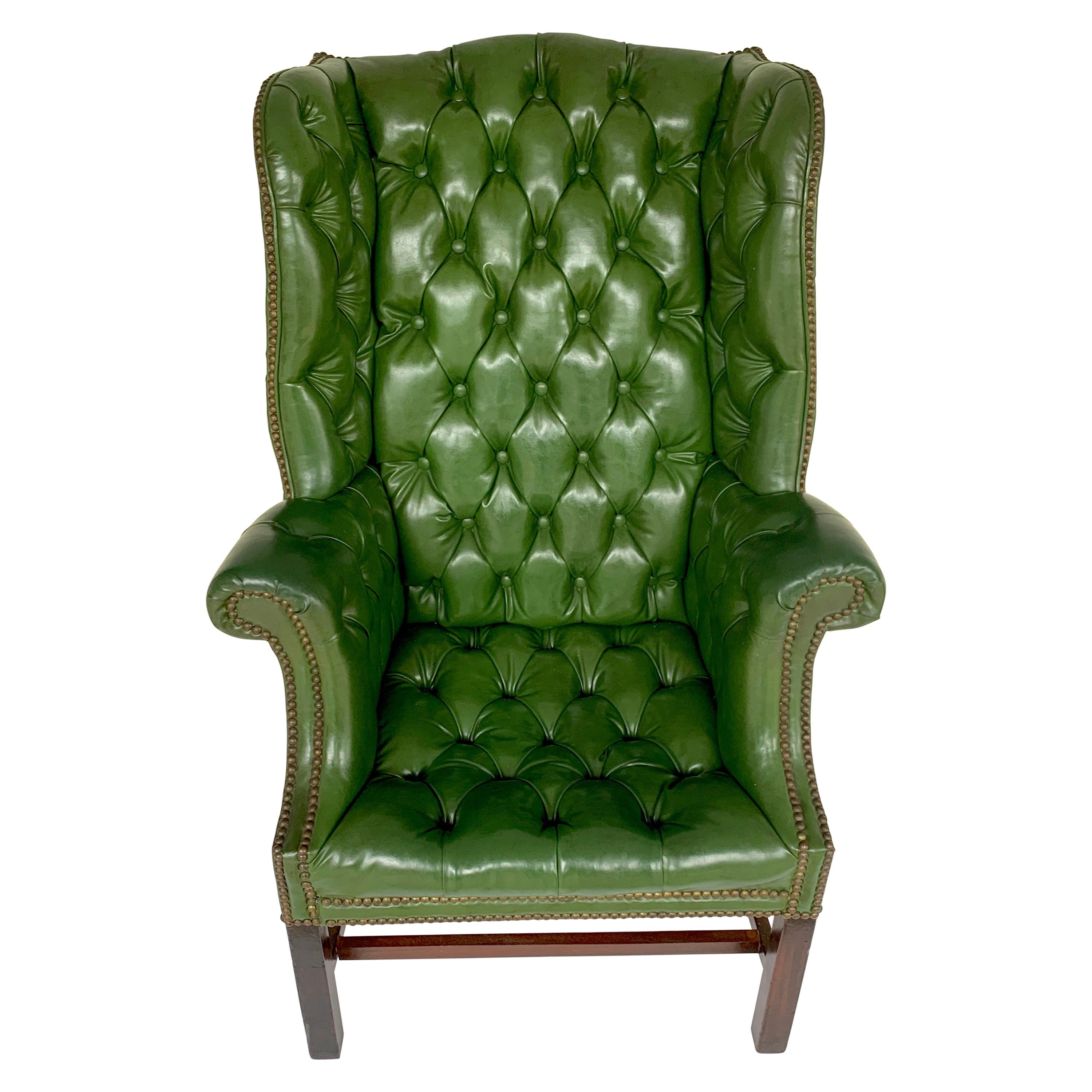 Exquisite George III Mahogany Green Leather Chesterfield Wing Chair