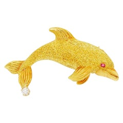Exquisite George Lederman 18 Karat Gold and Diamond Ruby Dolphin Brooch Pin