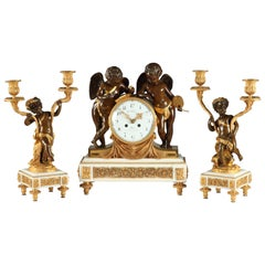 "Exquisite Gilded Bronze and Marble Clock Set ""Geniuses of the Arts"" by G. Fabre"