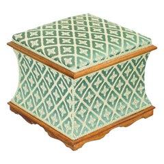 Exquisite Hardwood Framed Silk Upholstered Victorian Ottoman Stool Footstool