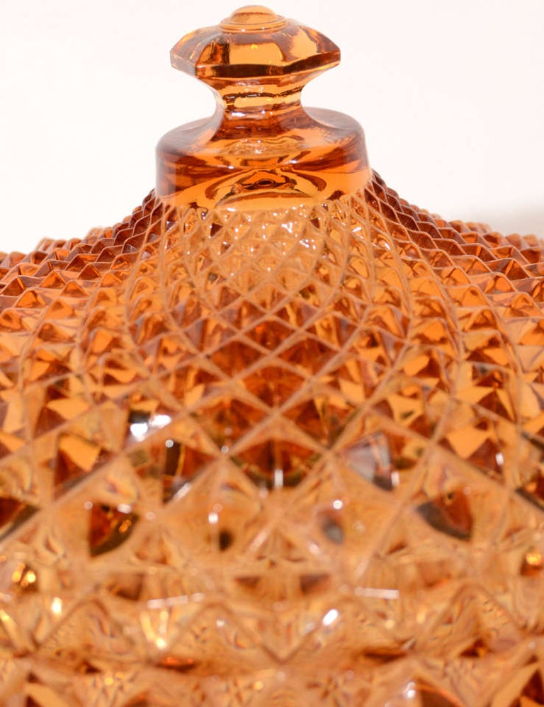 Mid-20th Century Exquisite Hollywood Regency Diamond Point Glass Footed Bowl in Amber, 1940's