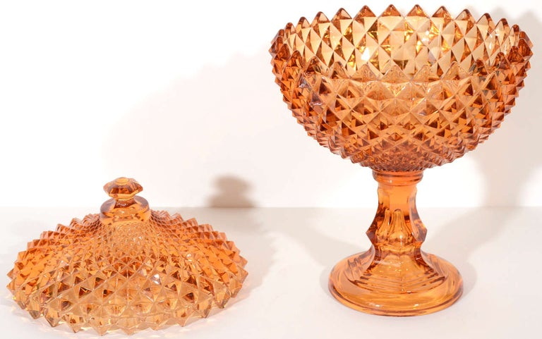 Exquisite Hollywood Regency Diamond Point Glass Footed Bowl in Amber, 1940's 1