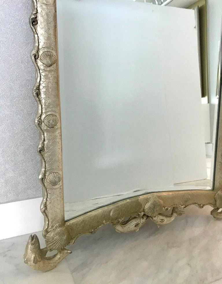 Exquisite Hollywood Regency Scalloped Mirror in Antique Sterling Silver Leaf For Sale 6