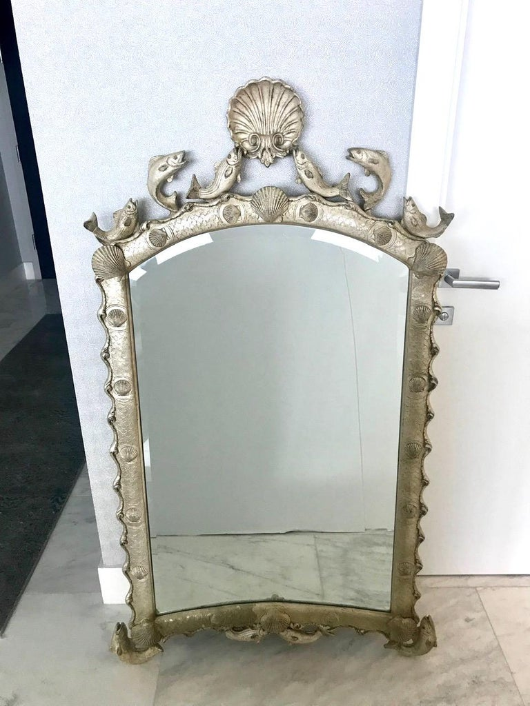 American Exquisite Hollywood Regency Scalloped Mirror in Antique Sterling Silver Leaf For Sale