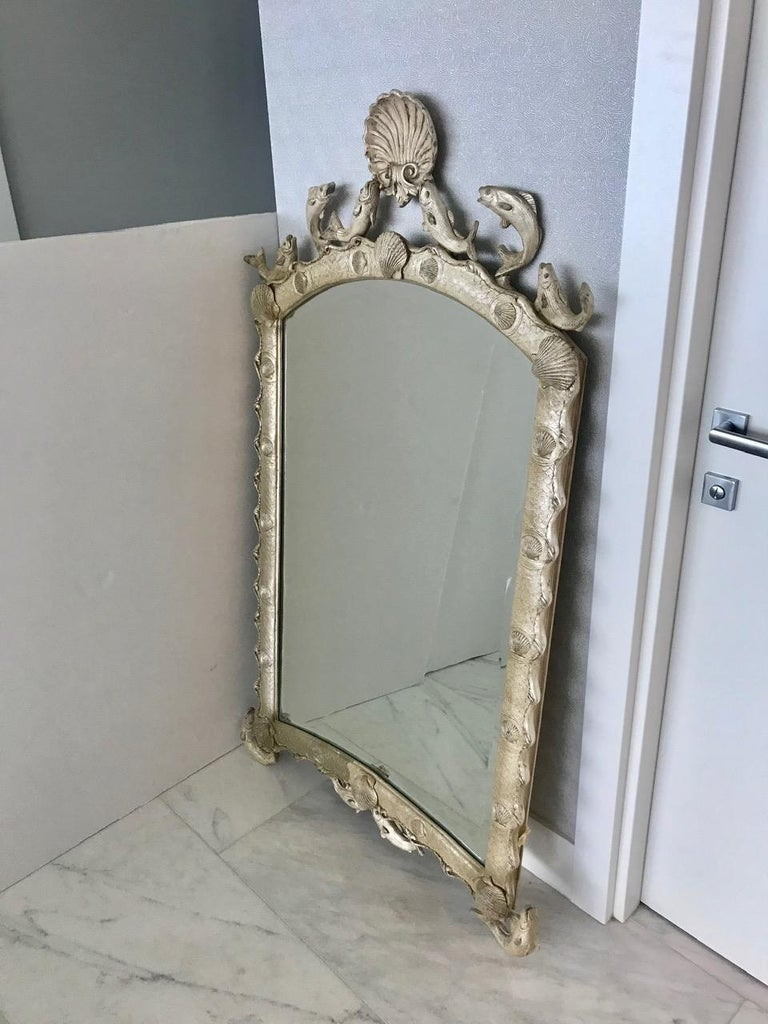 Beveled Exquisite Hollywood Regency Scalloped Mirror in Antique Sterling Silver Leaf For Sale