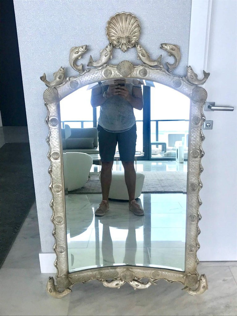 Exquisite Hollywood Regency Scalloped Mirror in Antique Sterling Silver Leaf For Sale 1