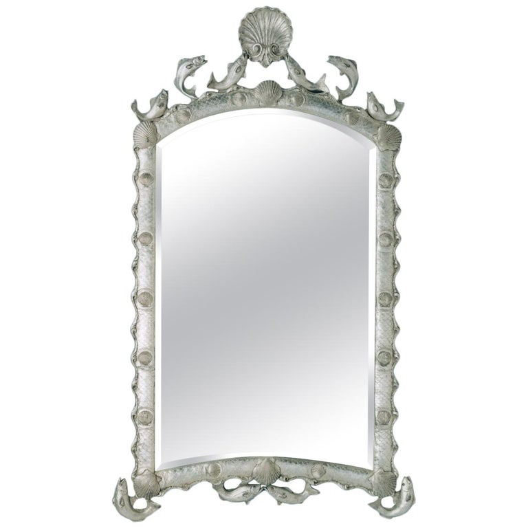 Exquisite Hollywood Regency Scalloped Mirror in Antique Sterling Silver Leaf For Sale