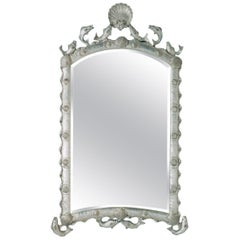 Exquisite Hollywood Regency Scalloped Mirror in Antique Sterling Silver Leaf