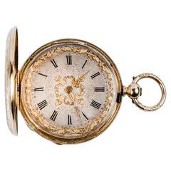 Exquisite Hunter-Case Swiss Pocket Gold Watch Courvoisier, 1870