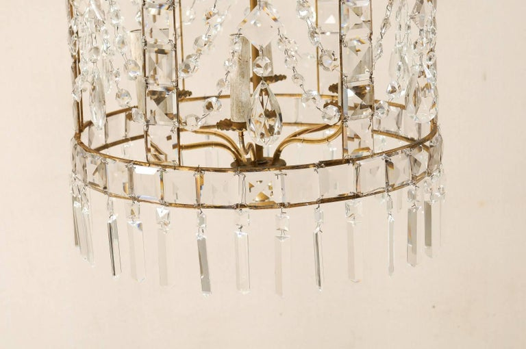 Exquisite Italian Caged Crystal Lantern Chandelier With Waterfall Crown At 1stdibs