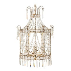Exquisite Italian Caged Crystal Lantern Chandelier with Waterfall Crown