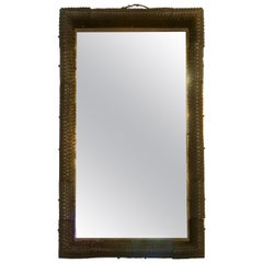 Exquisite Italian Hand Blown Glass and Brass Illuminating Large Mirror